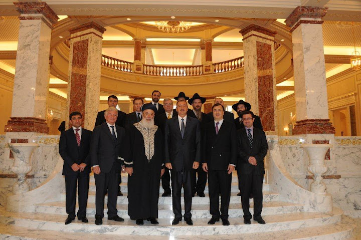 President Aliyev with the FJC's leadership, visiting in Baku's educational campus